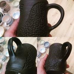 Изделия из черной глины после обжига 1100 град